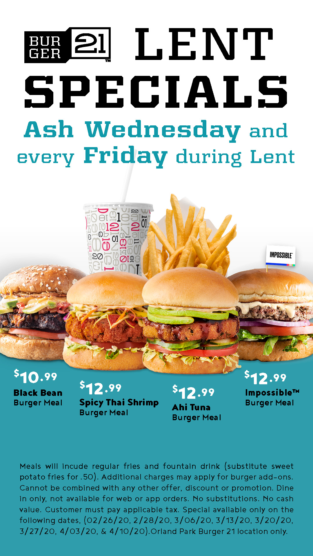 Lent Specials on Ash Wednesday & every Friday during Lent