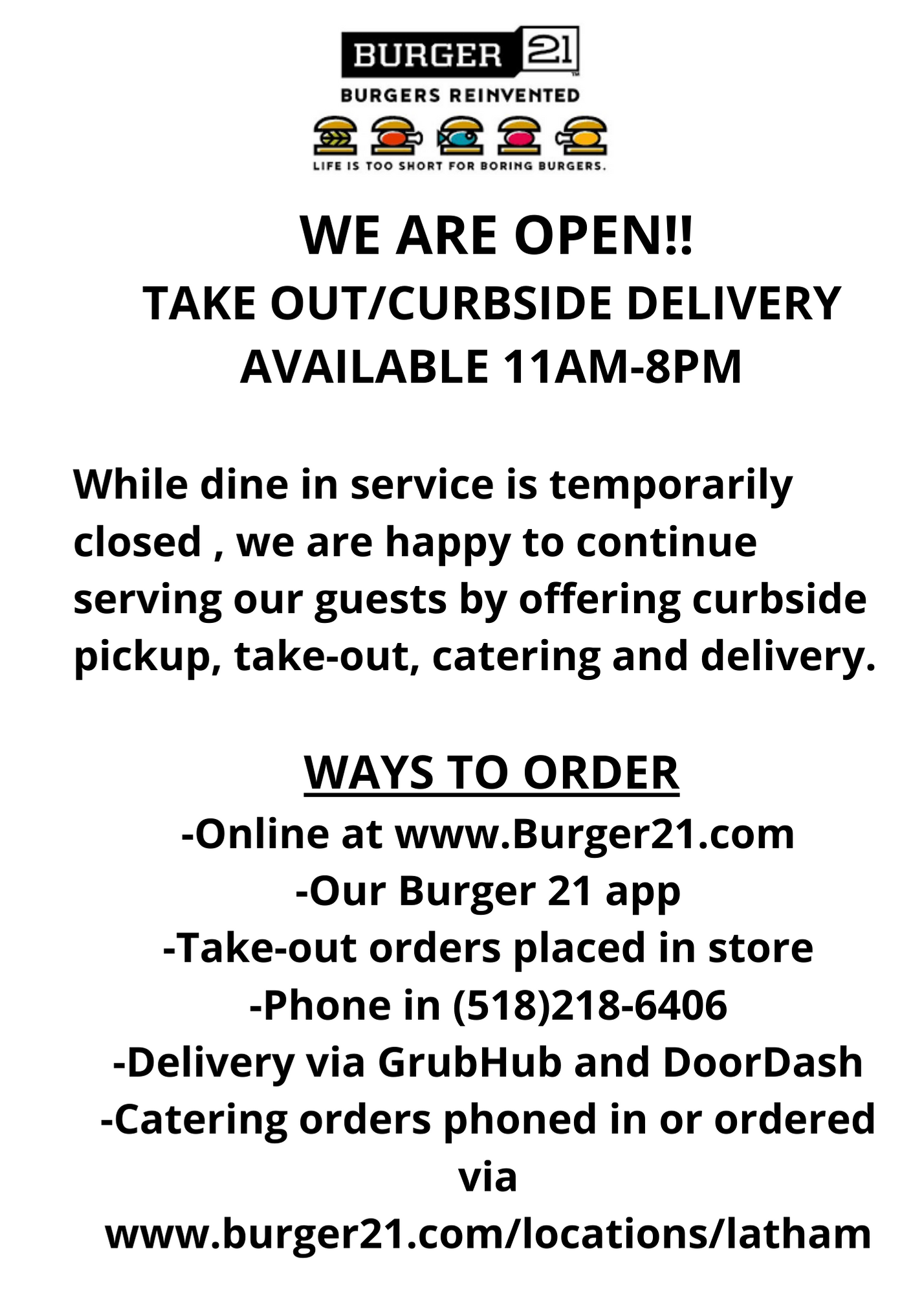 Still open for Takeout and Delivery